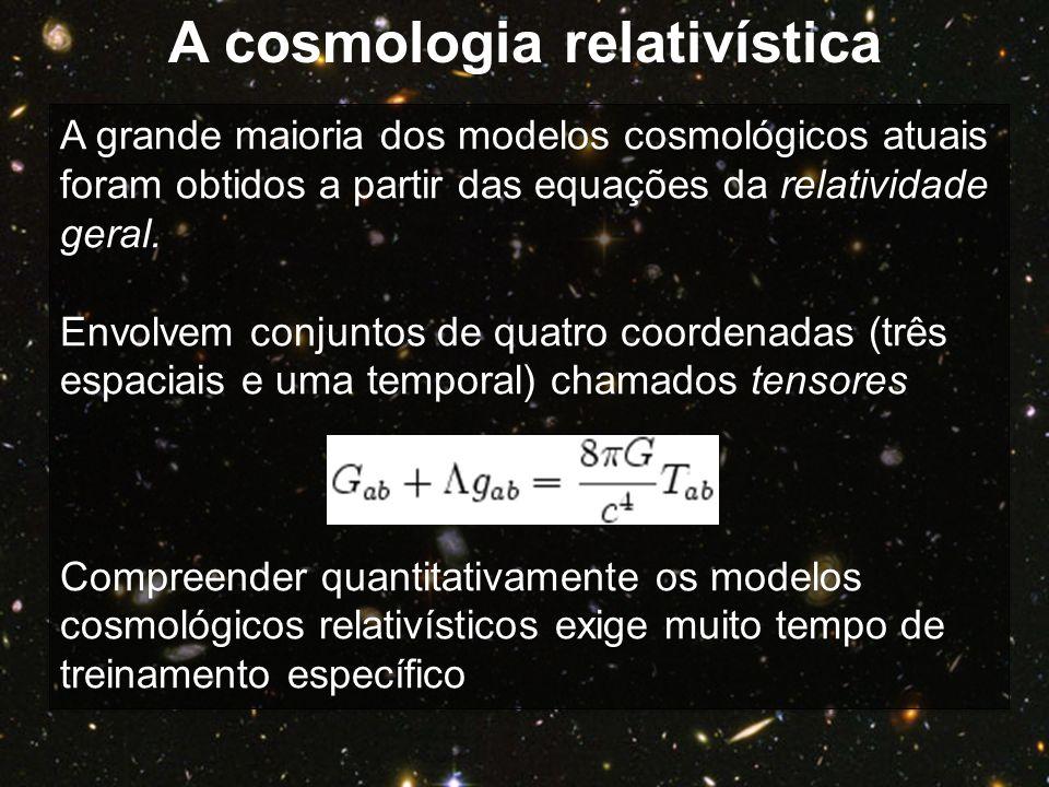 A grande maioria dos modelos cosmológicos atuais foram obtidos a partir das equações da relatividade geral. Envolvem conjuntos de quatro coordenadas (