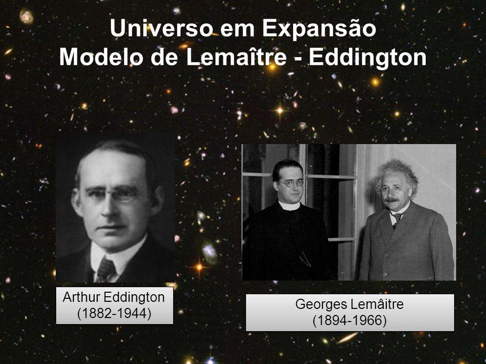 Arthur Eddington (1882-1944) Arthur Eddington (1882-1944) Georges Lemâitre (1894-1966) Georges Lemâitre (1894-1966) Universo em Expansão Modelo de Lem
