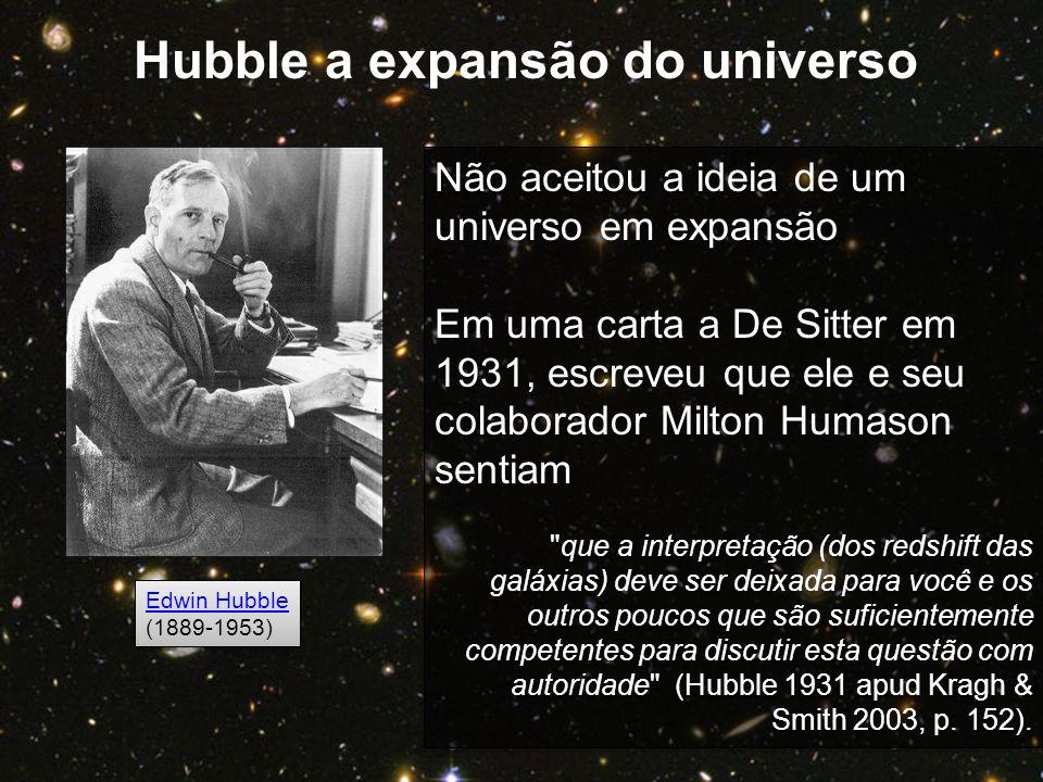 Edwin Hubble (1889-1953) Edwin Hubble (1889-1953) Não aceitou a ideia de um universo em expansão Em uma carta a De Sitter em 1931, escreveu que ele e