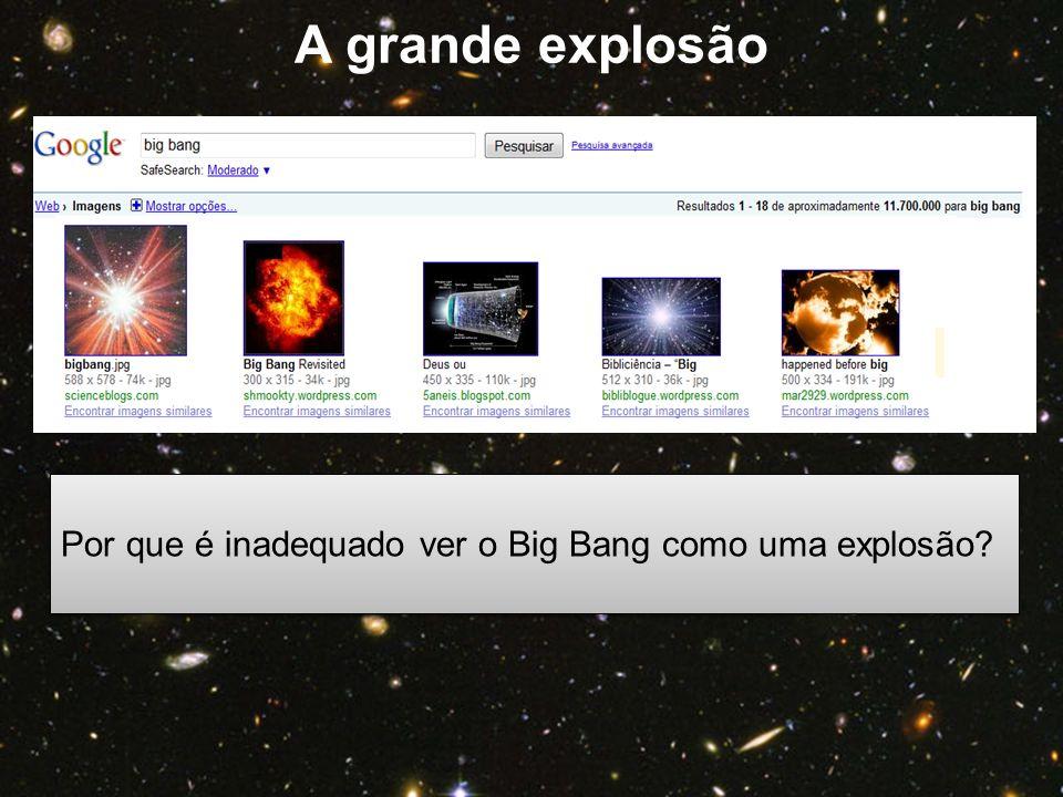 Por que é inadequado ver o Big Bang como uma explosão? A grande explosão