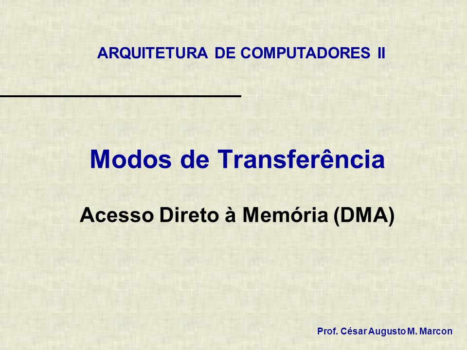 Modos de Transferência Acesso Direto à Memória (DMA) ARQUITETURA DE COMPUTADORES II Prof.