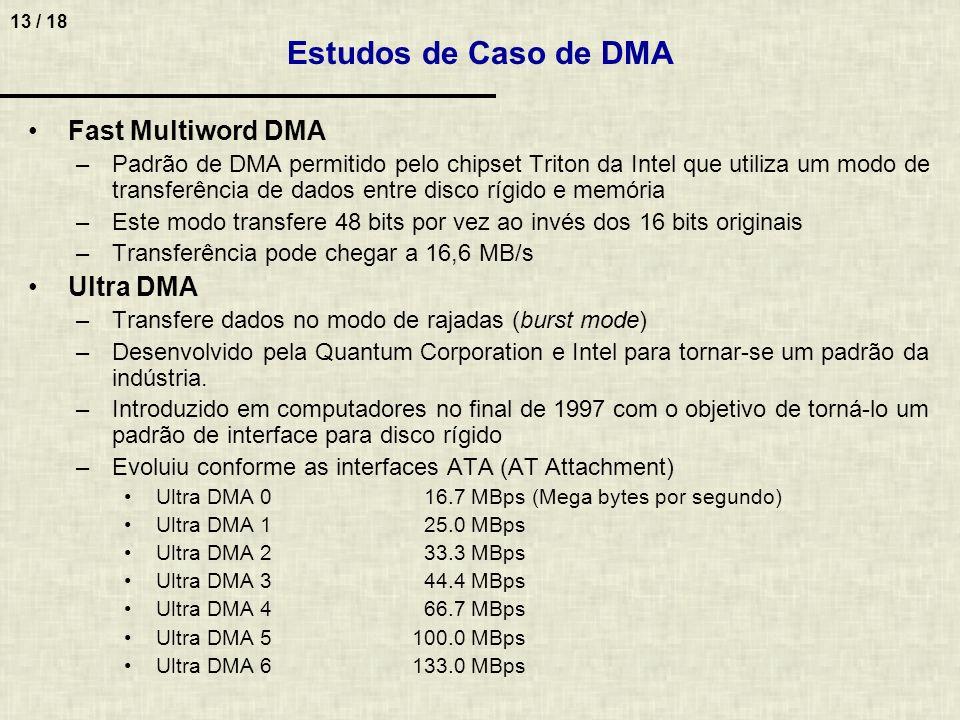 13 / 18 Estudos de Caso de DMA Fast Multiword DMA –Padrão de DMA permitido pelo chipset Triton da Intel que utiliza um modo de transferência de dados entre disco rígido e memória –Este modo transfere 48 bits por vez ao invés dos 16 bits originais –Transferência pode chegar a 16,6 MB/s Ultra DMA –Transfere dados no modo de rajadas (burst mode) –Desenvolvido pela Quantum Corporation e Intel para tornar-se um padrão da indústria.
