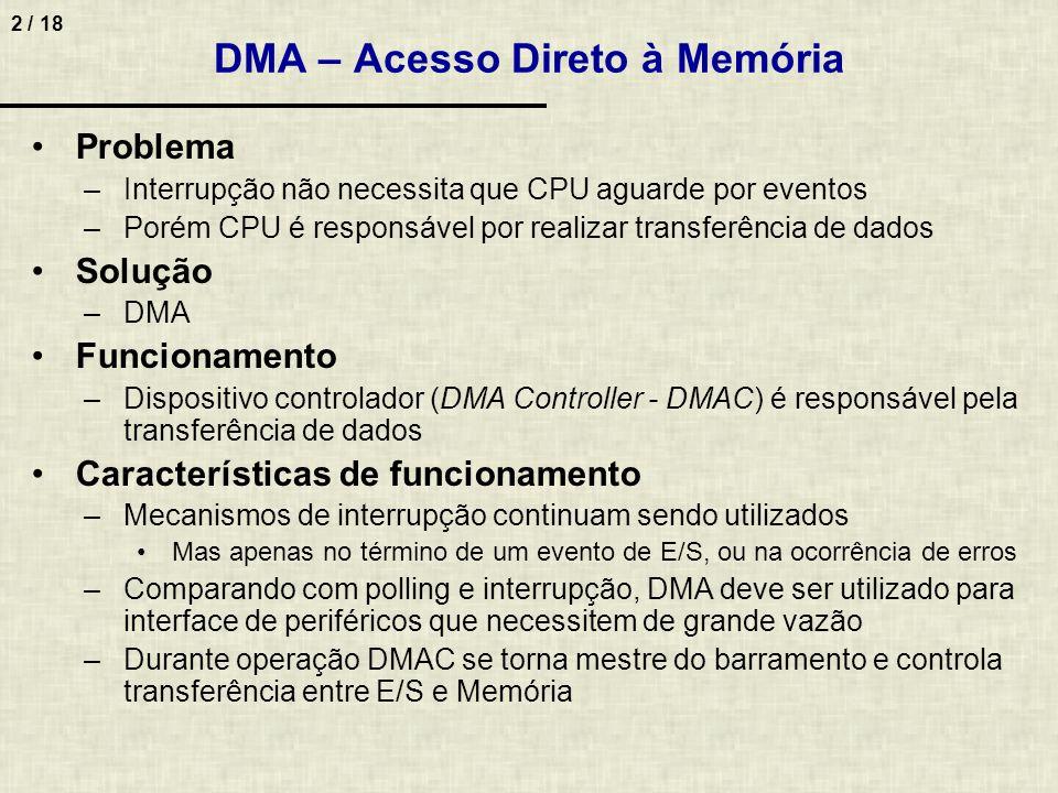 2 / 18 DMA – Acesso Direto à Memória Problema –Interrupção não necessita que CPU aguarde por eventos –Porém CPU é responsável por realizar transferência de dados Solução –DMA Funcionamento –Dispositivo controlador (DMA Controller - DMAC) é responsável pela transferência de dados Características de funcionamento –Mecanismos de interrupção continuam sendo utilizados Mas apenas no término de um evento de E/S, ou na ocorrência de erros –Comparando com polling e interrupção, DMA deve ser utilizado para interface de periféricos que necessitem de grande vazão –Durante operação DMAC se torna mestre do barramento e controla transferência entre E/S e Memória