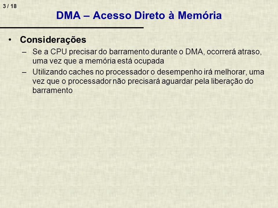 3 / 18 Considerações –Se a CPU precisar do barramento durante o DMA, ocorrerá atraso, uma vez que a memória está ocupada –Utilizando caches no processador o desempenho irá melhorar, uma vez que o processador não precisará aguardar pela liberação do barramento DMA – Acesso Direto à Memória