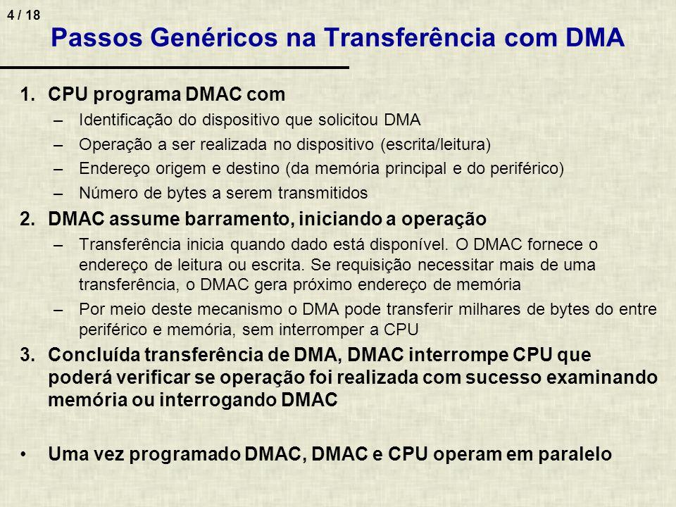 4 / 18 Passos Genéricos na Transferência com DMA 1.CPU programa DMAC com –Identificação do dispositivo que solicitou DMA –Operação a ser realizada no dispositivo (escrita/leitura) –Endereço origem e destino (da memória principal e do periférico) –Número de bytes a serem transmitidos 2.DMAC assume barramento, iniciando a operação –Transferência inicia quando dado está disponível.