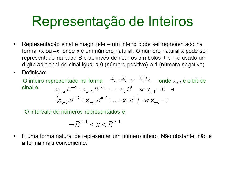 Representação de Inteiros Representação sinal e magnitude – um inteiro pode ser representado na forma +x ou –x, onde x é um número natural. O número n