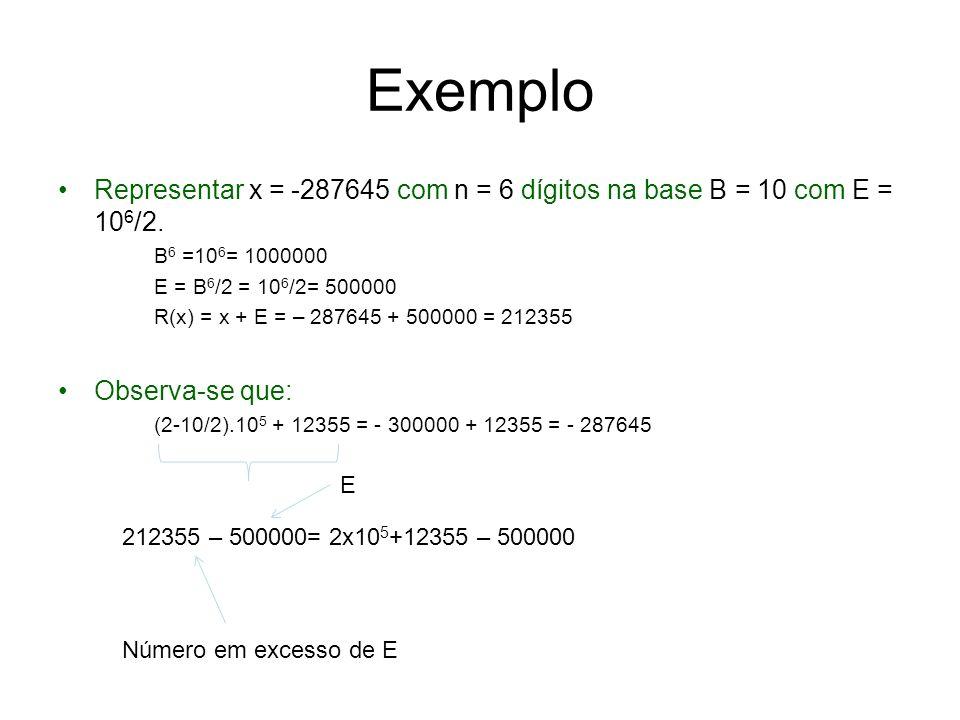 Representação Complemento de B É obtido um número natural R(x), aplicando uma função um-a-um a x.