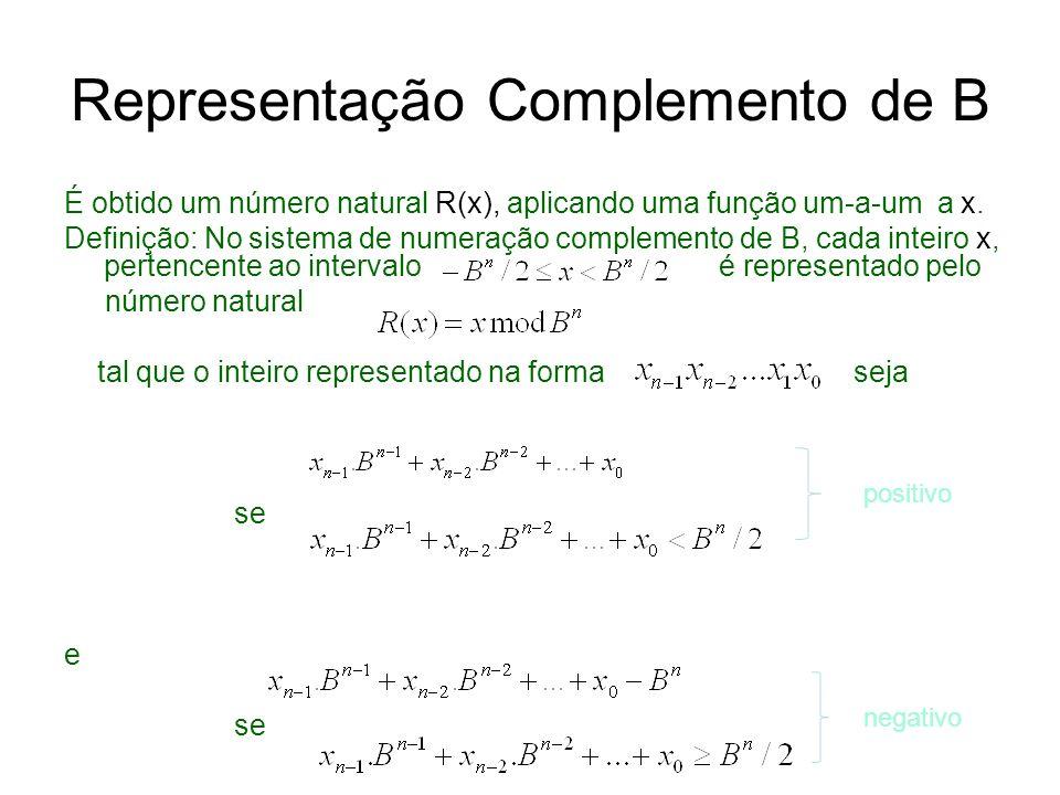 Representação Complemento de B É obtido um número natural R(x), aplicando uma função um-a-um a x. Definição: No sistema de numeração complemento de B,