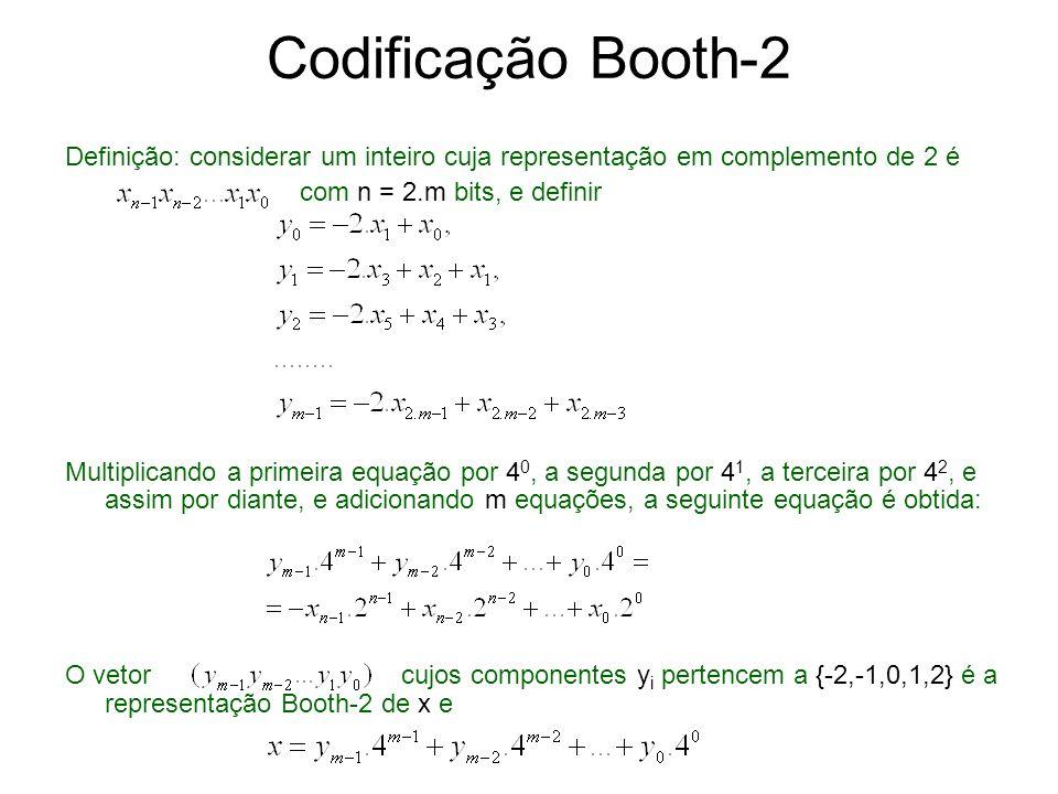 Codificação Booth-r Definição: considerar um inteiro x cuja representação em complemento de 2 é com n = r.m bits, e definir O vetor cujos componentes y i pertencem a é a representação Booth-r de x e onde B=2 r.