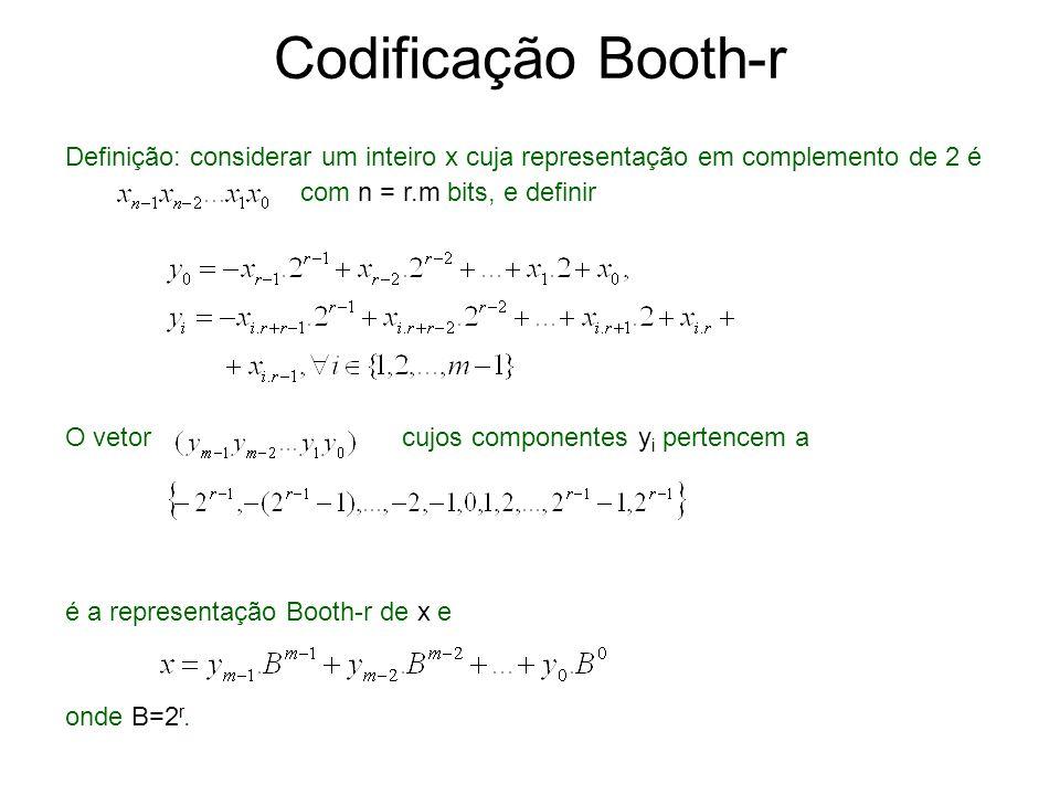 Exemplo Computar a codificação de Booth de -287645, cuja representação complemento de 2 é: 10111001110001100011 De acordo com a representação Booth-1 é -1100-10100-10010-10010-1 e de acordo cm a representação Booth-2 é -10-22-102-21-1