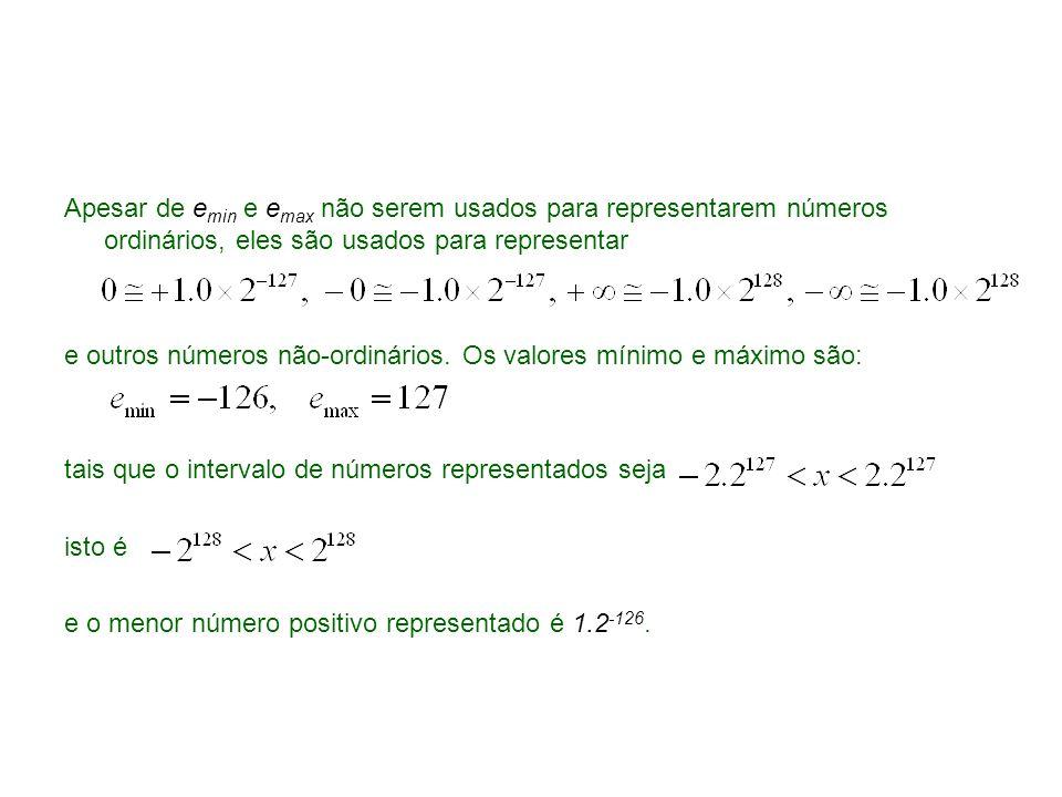 Apesar de e min e e max não serem usados para representarem números ordinários, eles são usados para representar e outros números não-ordinários. Os v