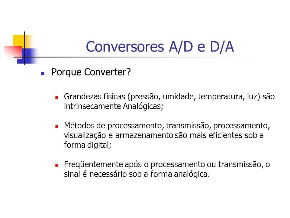 Conversores A/D e D/A Porque Converter? Grandezas físicas (pressão, umidade, temperatura, luz) são intrinsecamente Analógicas; Métodos de processament