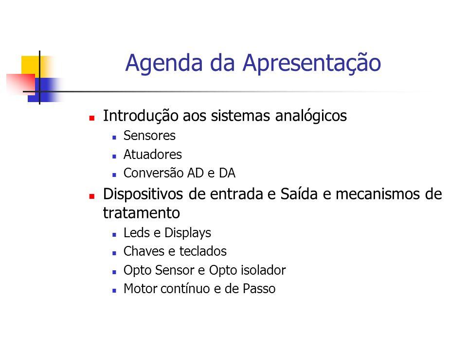 Agenda da Apresentação Introdução aos sistemas analógicos Sensores Atuadores Conversão AD e DA Dispositivos de entrada e Saída e mecanismos de tratame
