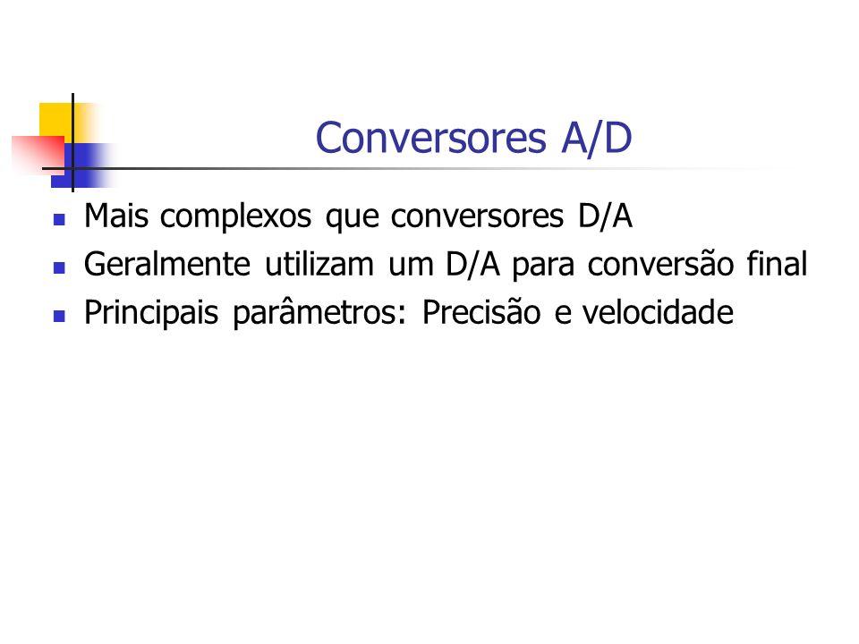 Conversores A/D Mais complexos que conversores D/A Geralmente utilizam um D/A para conversão final Principais parâmetros: Precisão e velocidade