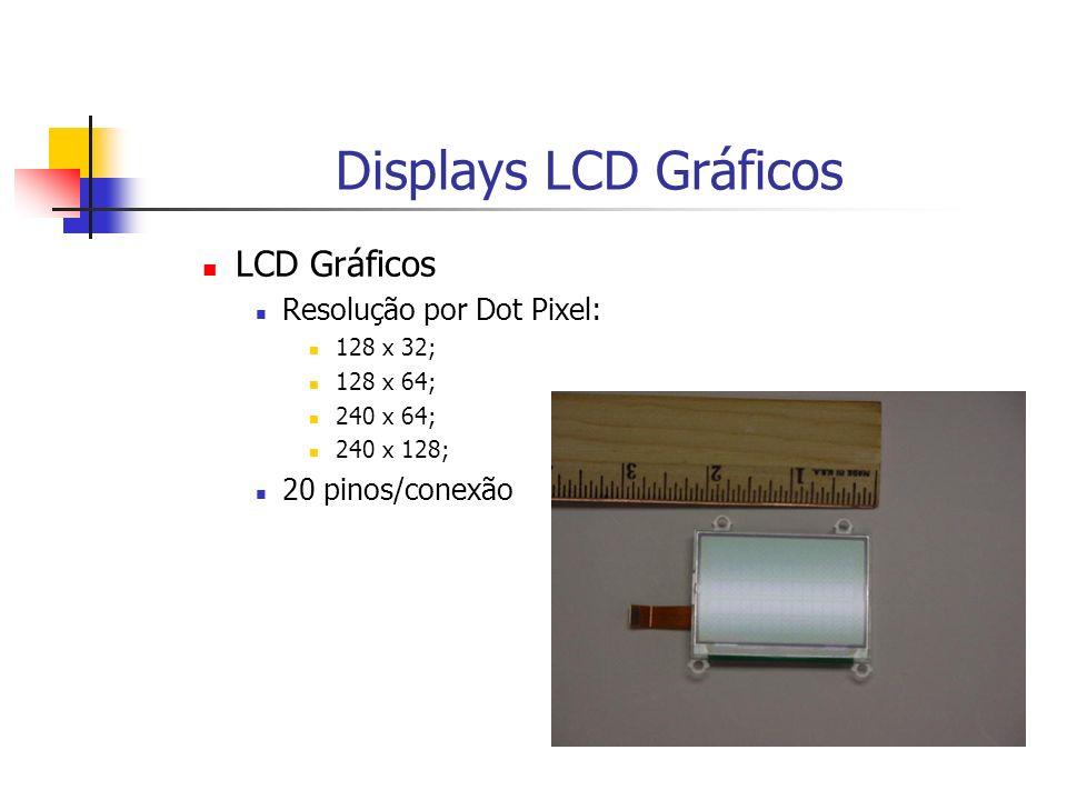 Displays LCD Gráficos LCD Gráficos Resolução por Dot Pixel: 128 x 32; 128 x 64; 240 x 64; 240 x 128; 20 pinos/conexão