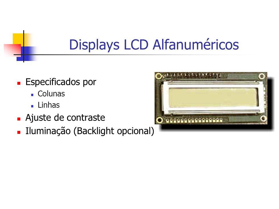Displays LCD Alfanuméricos Especificados por Colunas Linhas Ajuste de contraste Iluminação (Backlight opcional)