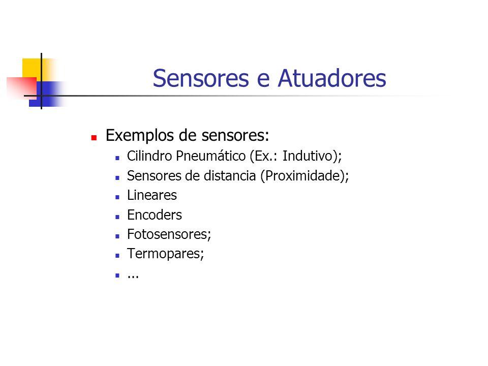 Sensores e Atuadores Exemplos de sensores: Cilindro Pneumático (Ex.: Indutivo); Sensores de distancia (Proximidade); Lineares Encoders Fotosensores; T