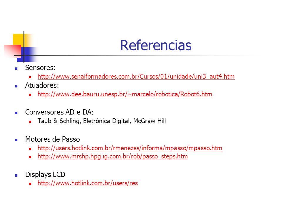 Referencias Sensores: http://www.senaiformadores.com.br/Cursos/01/unidade/uni3_aut4.htm Atuadores: http://www.dee.bauru.unesp.br/~marcelo/robotica/Rob