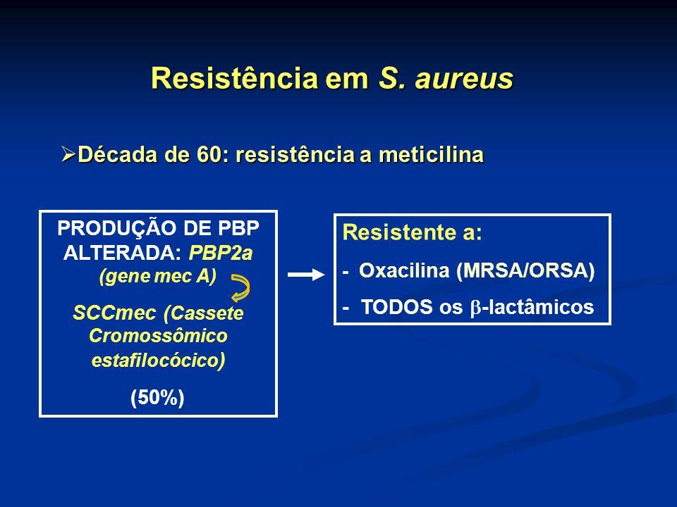 PRODUÇÃO DE PBP ALTERADA: PBP2a (gene mec A) SCCmec ( Cassete Cromossômico estafilocócico ) (50%) Resistente a: - Oxacilina (MRSA/ORSA) - TODOS os -la