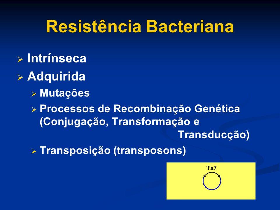 Resistência Bacteriana Intrínseca Adquirida Mutações Processos de Recombinação Genética (Conjugação, Transformação e Transducção) Transposição (transp