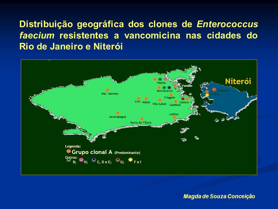 Distribuição geográfica dos clones de Enterococcus faecium resistentes a vancomicina nas cidades do Rio de Janeiro e Niterói Magda de Souza Conceição