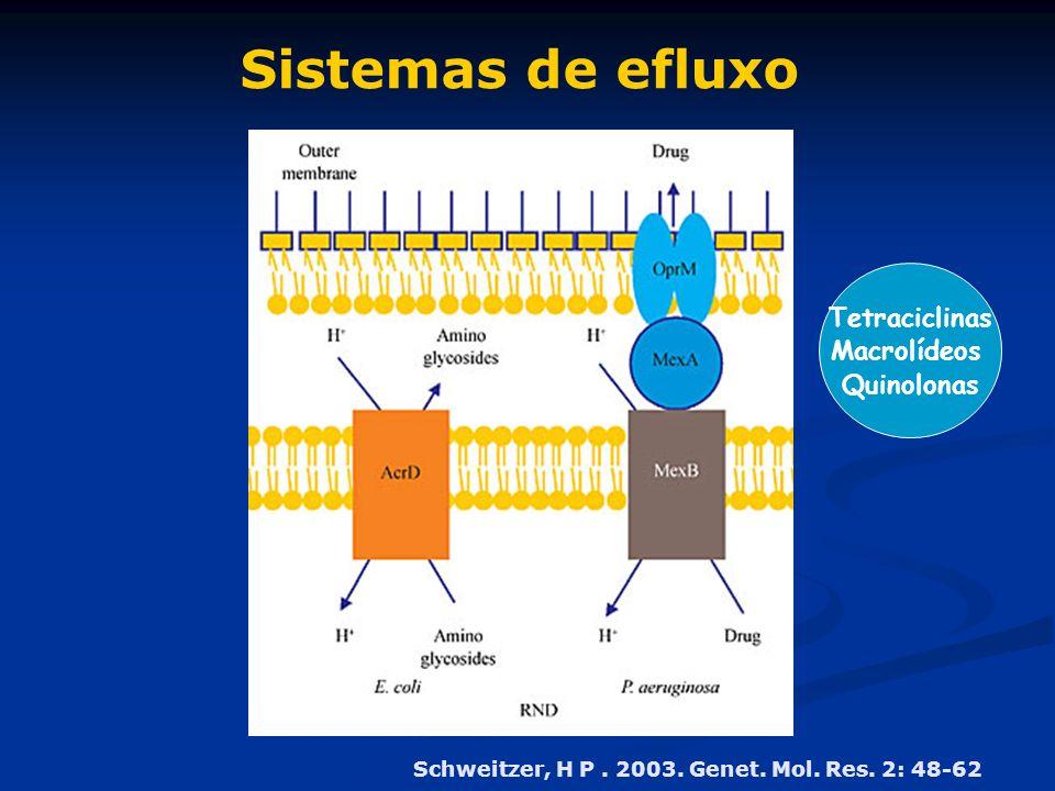 Sistemas de efluxo Schweitzer, H P. 2003. Genet. Mol. Res. 2: 48-62 Tetraciclinas Macrolídeos Quinolonas