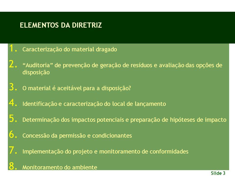 Slide 3 1. Caracterização do material dragado 2. Auditoria de prevenção de geração de resíduos e avaliação das opções de disposição 3. O material é ac