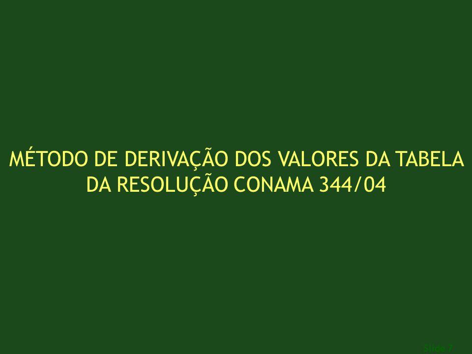 Slide 7 MÉTODO DE DERIVAÇÃO DOS VALORES DA TABELA DA RESOLUÇÃO CONAMA 344/04