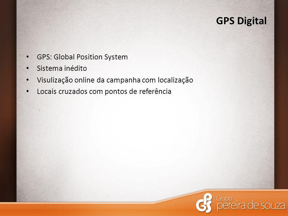 GPS Digital GPS: Global Position System Sistema inédito Visulização online da campanha com localização Locais cruzados com pontos de referência