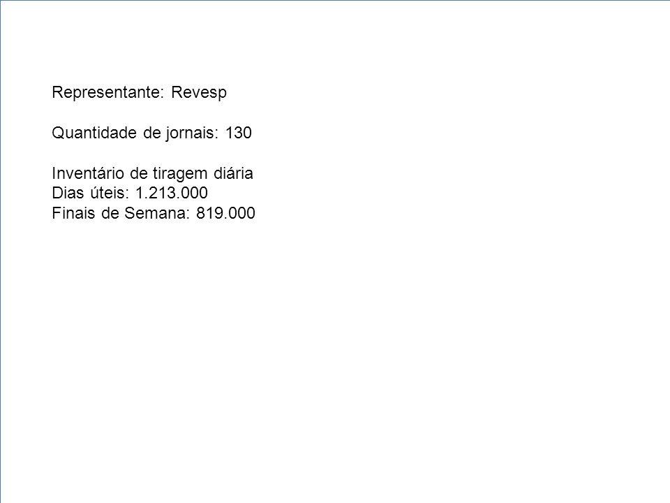 Representante: Revesp Quantidade de jornais: 130 Inventário de tiragem diária Dias úteis: 1.213.000 Finais de Semana: 819.000