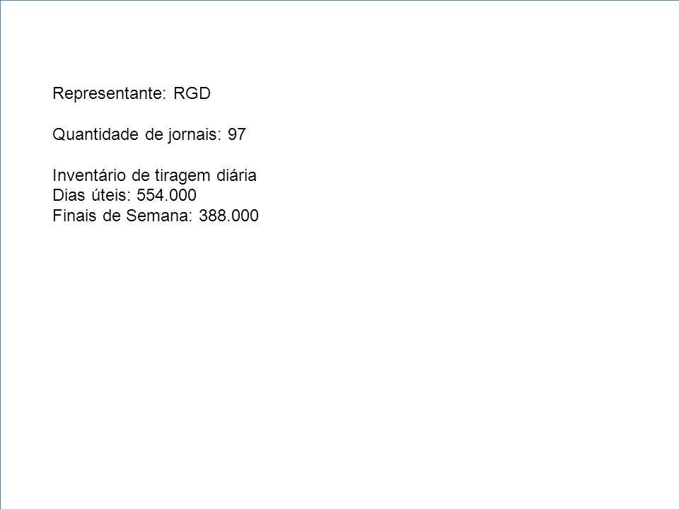 Representante: RGD Quantidade de jornais: 97 Inventário de tiragem diária Dias úteis: 554.000 Finais de Semana: 388.000