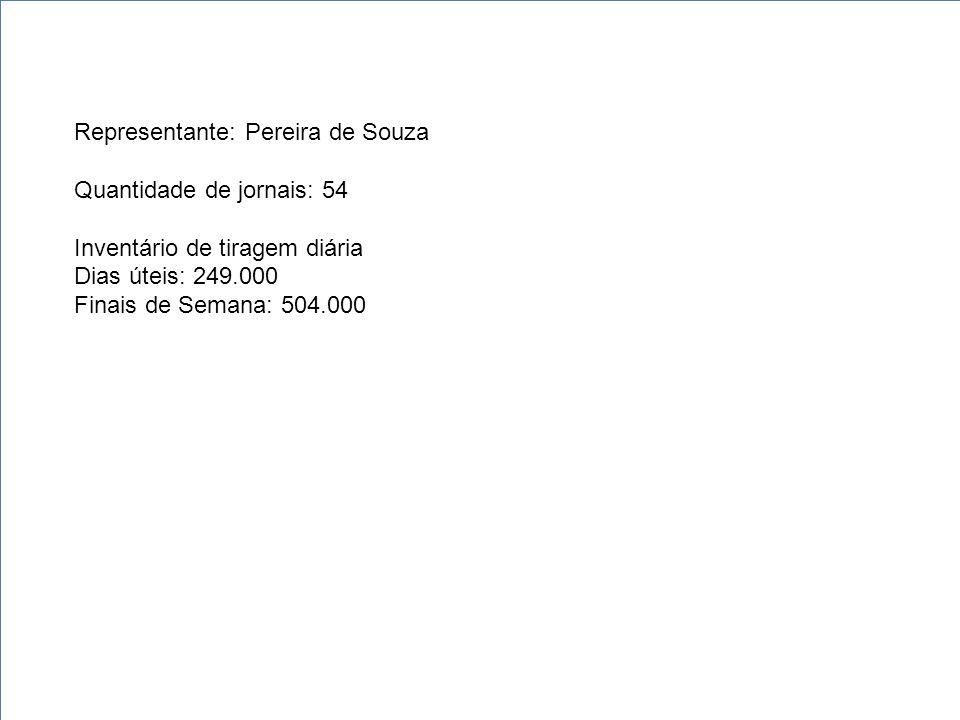 Representante: Pereira de Souza Quantidade de jornais: 54 Inventário de tiragem diária Dias úteis: 249.000 Finais de Semana: 504.000