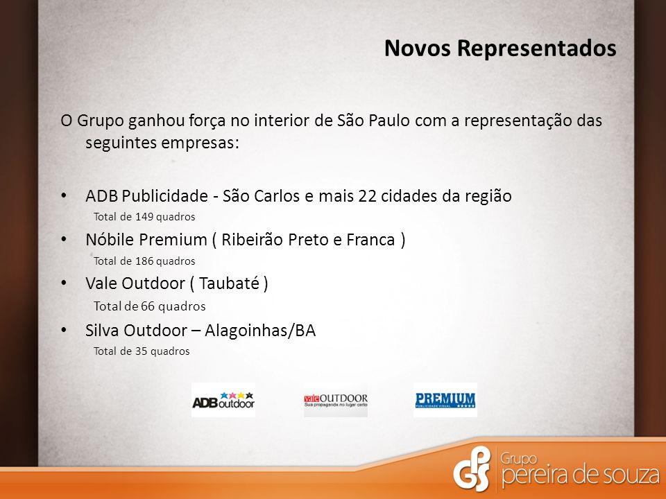Novos Representados O Grupo ganhou força no interior de São Paulo com a representação das seguintes empresas: ADB Publicidade - São Carlos e mais 22 c