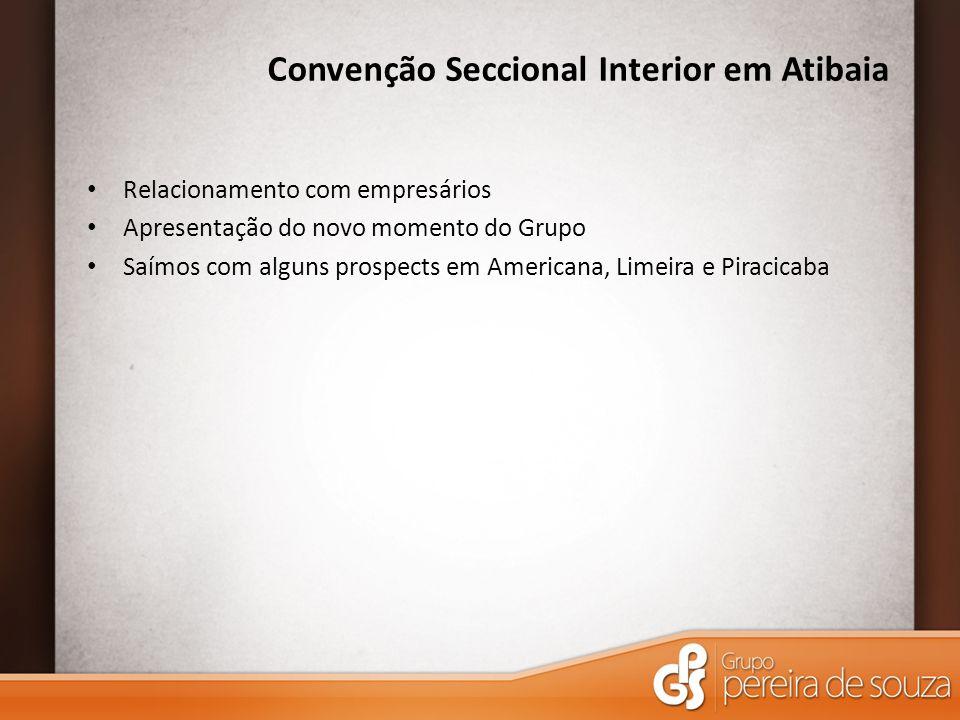 Convenção Seccional Interior em Atibaia Relacionamento com empresários Apresentação do novo momento do Grupo Saímos com alguns prospects em Americana, Limeira e Piracicaba
