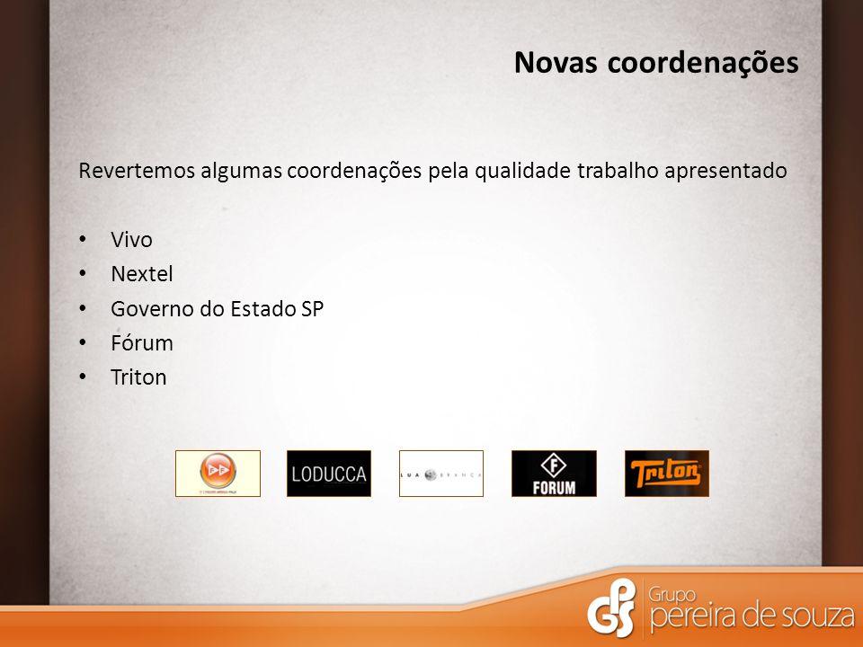 Novas coordenações Revertemos algumas coordenações pela qualidade trabalho apresentado Vivo Nextel Governo do Estado SP Fórum Triton