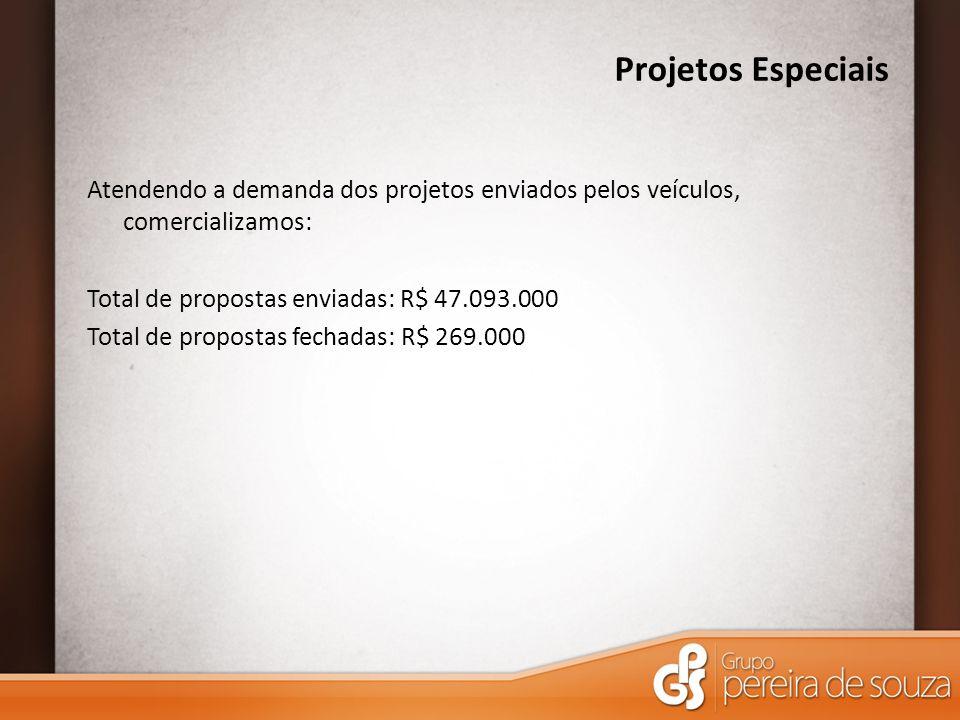Projetos Especiais Atendendo a demanda dos projetos enviados pelos veículos, comercializamos: Total de propostas enviadas: R$ 47.093.000 Total de propostas fechadas: R$ 269.000