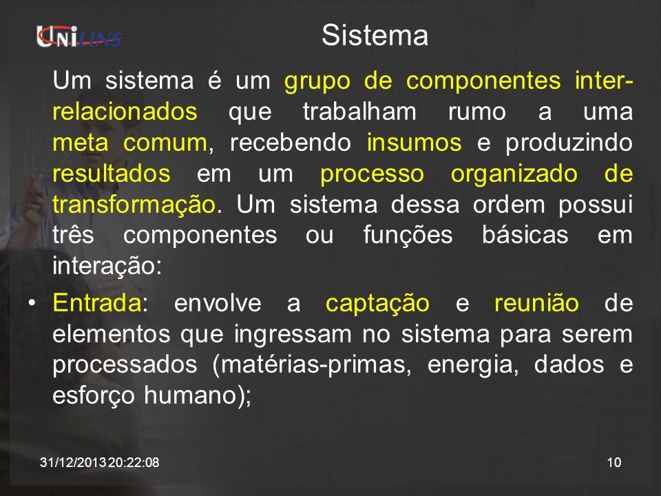 Sistema Um sistema é um grupo de componentes inter- relacionados que trabalham rumo a uma meta comum, recebendo insumos e produzindo resultados em um