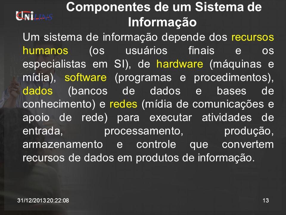 Componentes de um Sistema de Informação Um sistema de informação depende dos recursos humanos (os usuários finais e os especialistas em SI), de hardwa