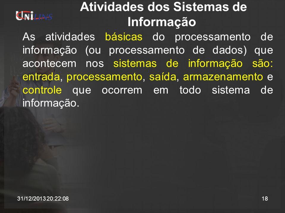 Atividades dos Sistemas de Informação As atividades básicas do processamento de informação (ou processamento de dados) que acontecem nos sistemas de i