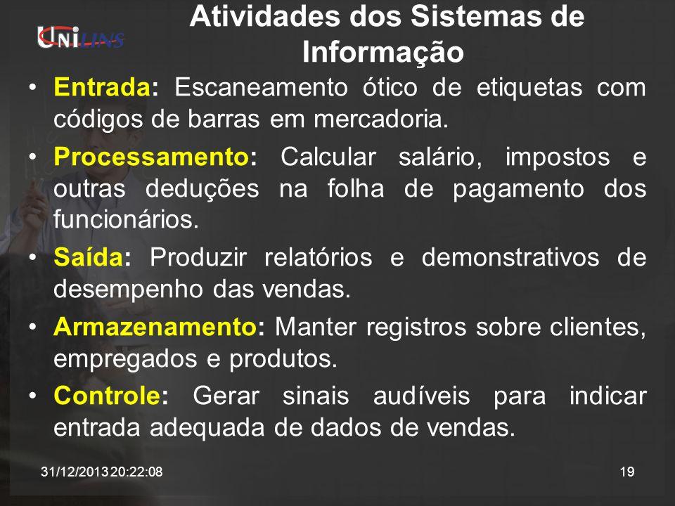Atividades dos Sistemas de Informação Entrada: Escaneamento ótico de etiquetas com códigos de barras em mercadoria. Processamento: Calcular salário, i