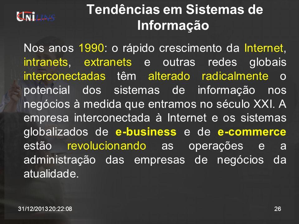 Tendências em Sistemas de Informação Nos anos 1990: o rápido crescimento da Internet, intranets, extranets e outras redes globais interconectadas têm