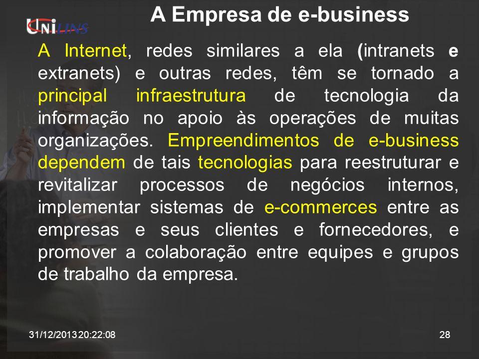 A Empresa de e-business A Internet, redes similares a ela (intranets e extranets) e outras redes, têm se tornado a principal infraestrutura de tecnolo