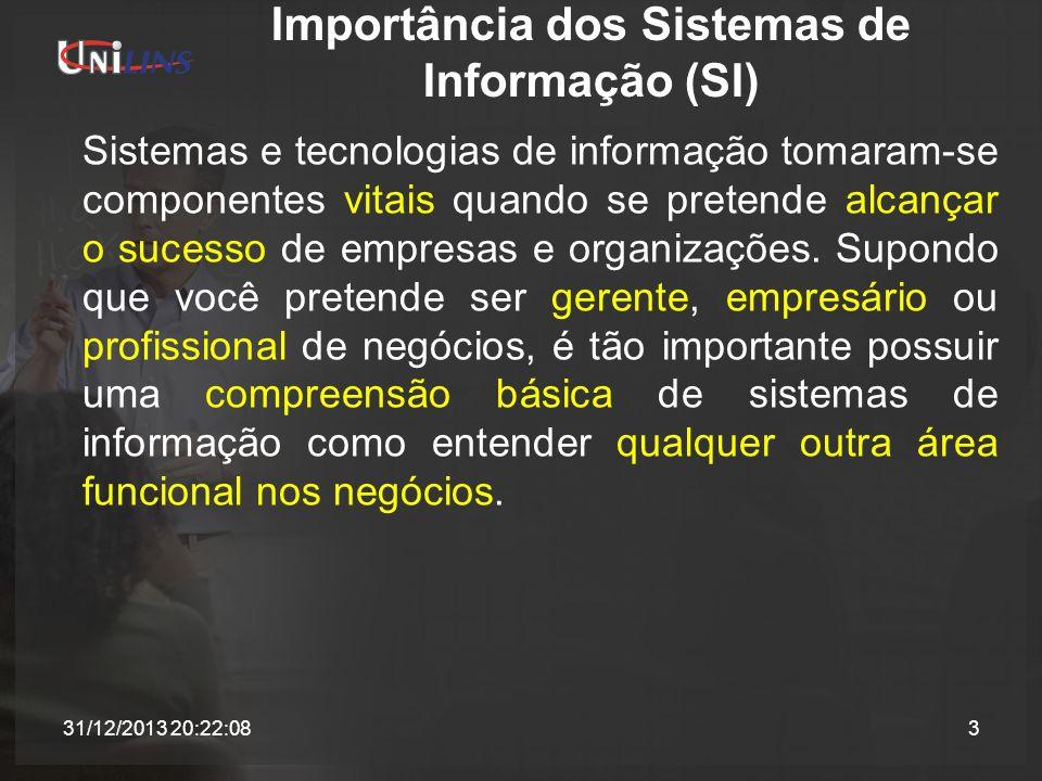 Componentes de um Sistema de Informação Quatro conceitos principais podem ser aplicados a todos os tipos de sistemas de informação: 1.Pessoas, hardware, software, dados e redes são os cinco recursos básicos dos sistemas de informação; 2.Os recursos humanos são usuários finais e especialistas em SI; os recursos de hardware são máquinas e mídia; os recursos de software são programas e procedimentos; os recursos de dados são bancos de dados e bases de conhecimento; e os recursos de rede são mídia e redes de comunicações; 31/12/2013 20:23:5314