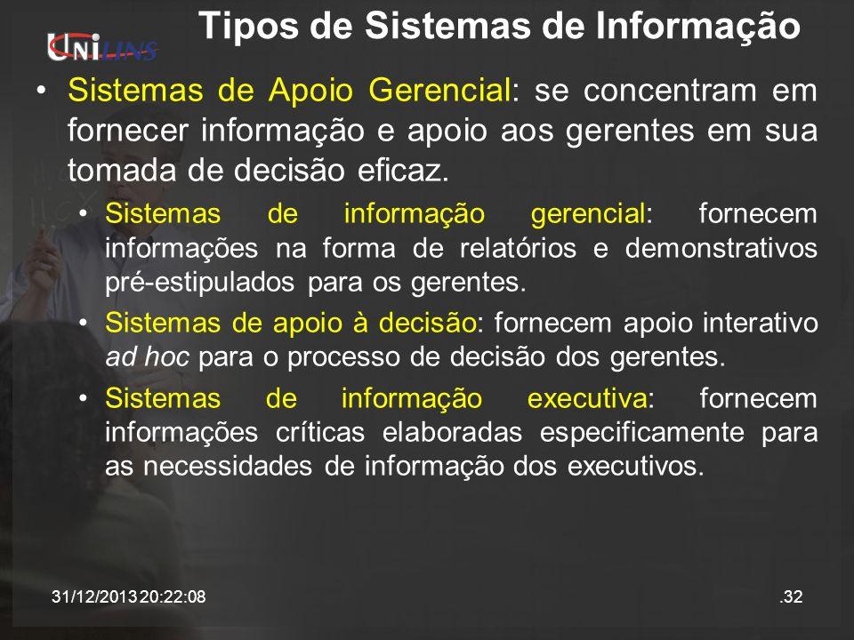 Tipos de Sistemas de Informação Sistemas de Apoio Gerencial: se concentram em fornecer informação e apoio aos gerentes em sua tomada de decisão eficaz