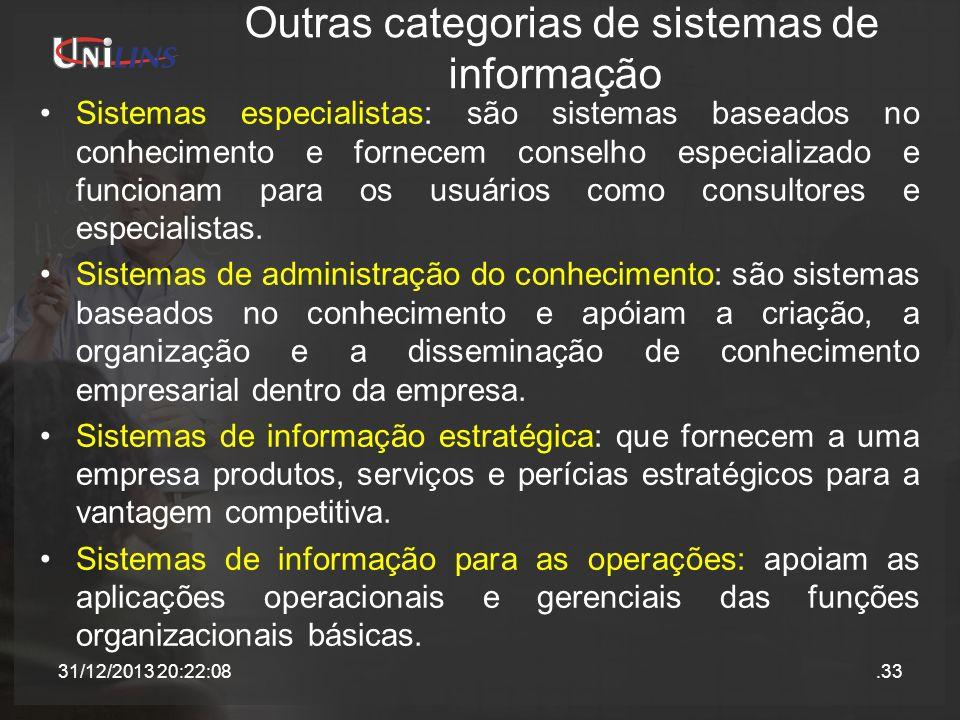 Outras categorias de sistemas de informação Sistemas especialistas: são sistemas baseados no conhecimento e fornecem conselho especializado e funciona