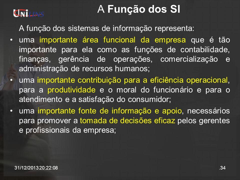 A Função dos SI A função dos sistemas de informação representa: uma importante área funcional da empresa que é tão importante para ela como as funções