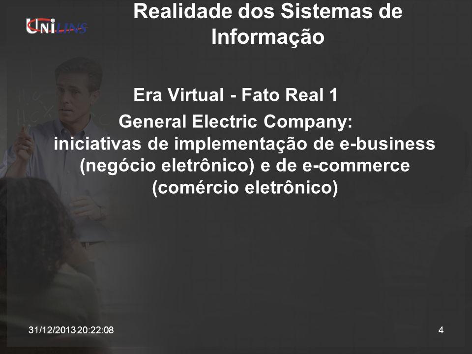 Realidade dos Sistemas de Informação Era Virtual - Fato Real 1 General Electric Company: iniciativas de implementação de e-business (negócio eletrônic
