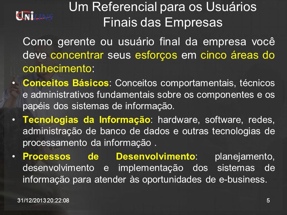 Um Referencial para os Usuários Finais das Empresas Como gerente ou usuário final da empresa você deve concentrar seus esforços em cinco áreas do conh