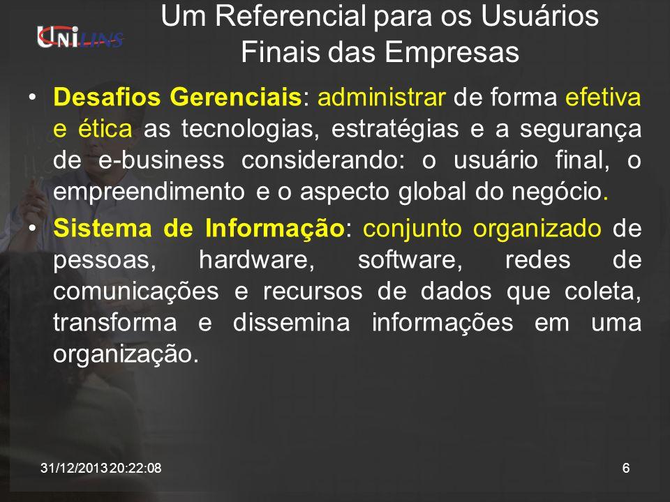 Recursos de um Sistema de Informação Recursos de Dados: Descrição de produtos, cadastro de clientes, arquivos de funcionários, banco de dados de estoque.