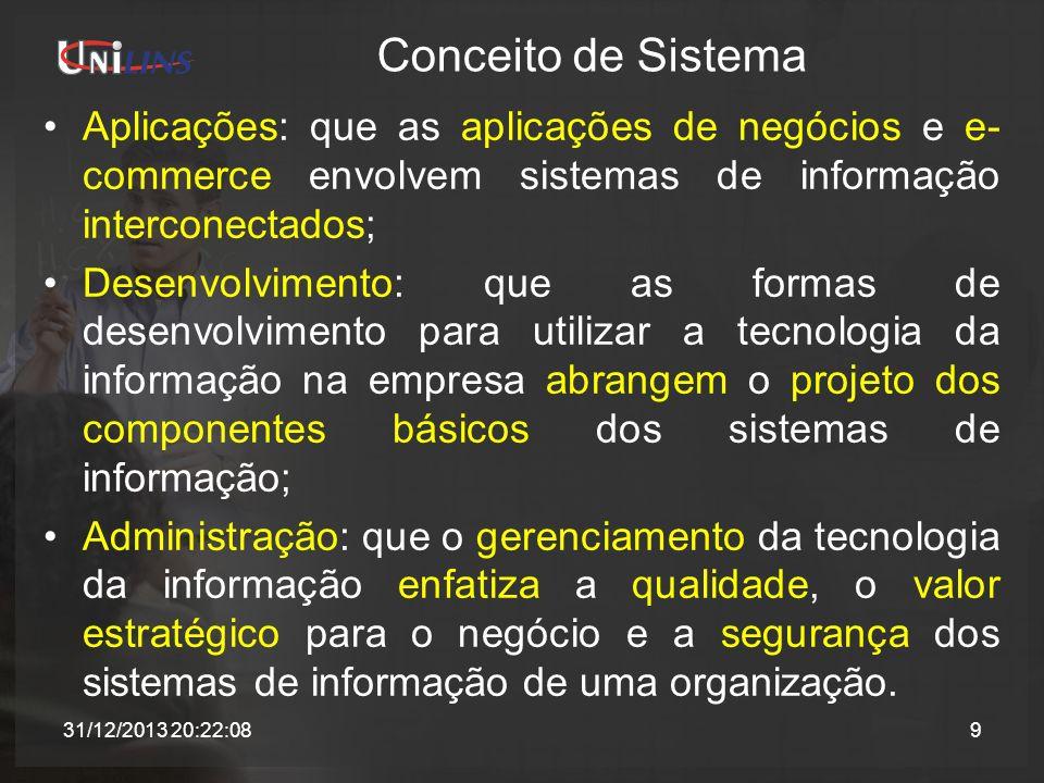 Conceito de Sistema Aplicações: que as aplicações de negócios e e- commerce envolvem sistemas de informação interconectados; Desenvolvimento: que as f